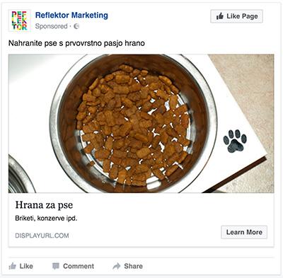 Primer slabšega Facebook oglasa s pasjo hrano