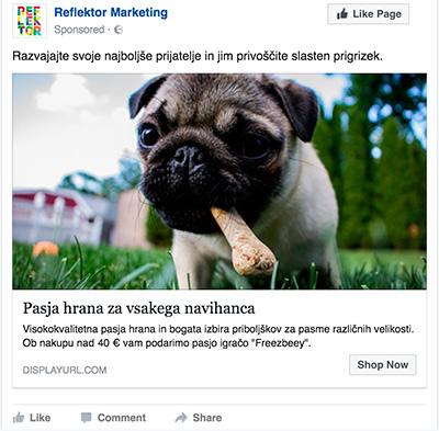 Primer boljšega facebook oglasa s pasjo hrano