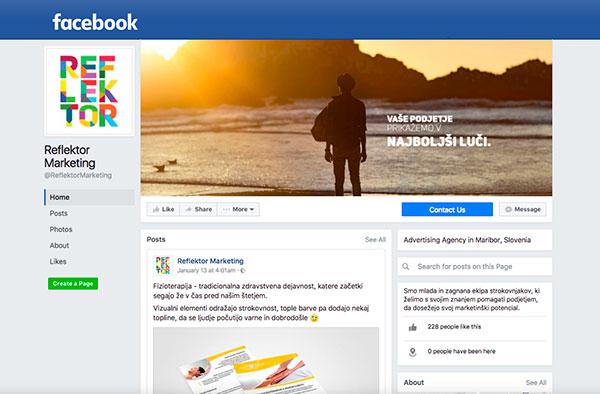 Facebook stran Reflektor marketing