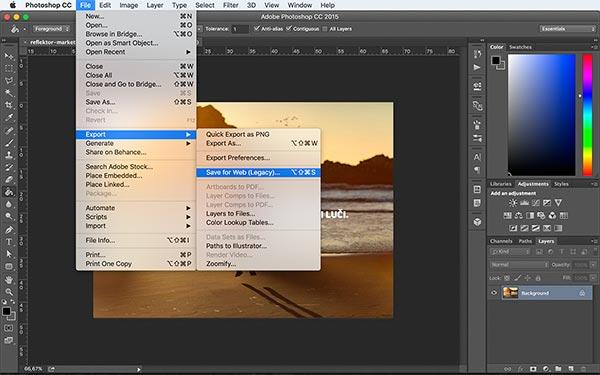 Kako izvoziti slike za splet v Photoshopu