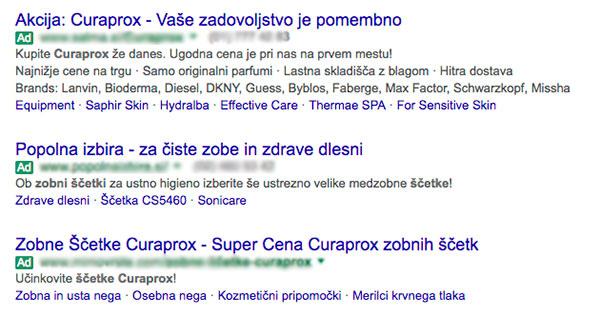 Primer Google Adwords oglasa za Curaprox zobno ščetko