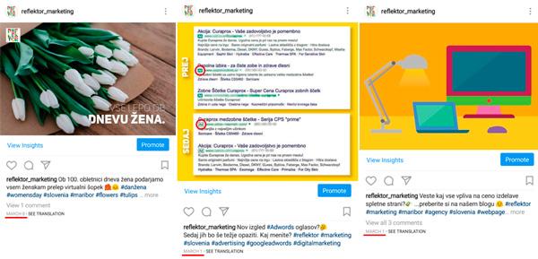 Razporeditev instagram objav po datumih