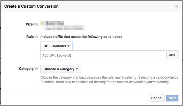 Ustvarjanje Facebook konverzije po meri
