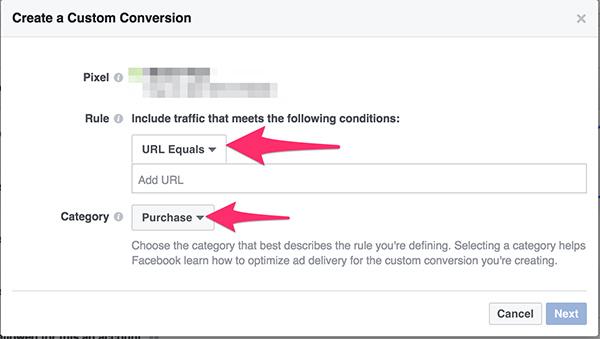 Nastavitve Facebook konverzij po meri
